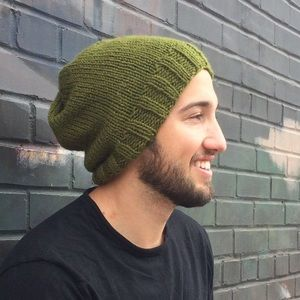 Other - Handmade Slouchy Knit Unisex Green Beanie Hat